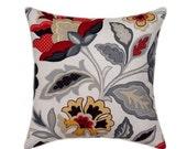 Floral STUFFED Throw Pillow - Katia Licorice Decorative Pillow - Red Grey Black Yellow Taupe Floral Pillow - Gray Throw Pillow - Free Ship