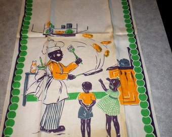 vintage Black Americana chef cook flipping pancakes for boy & girl children art deco border linen kitchen tea TOWEL