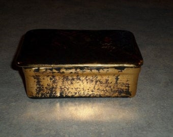 Stangl Pottery black gold carved lattice trinket jewelry cigarette BOX