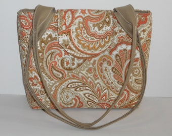 Purse Shoulder Bag Medium-Sized Flap Cinnamon, Coral, Brown, Tan and White Paisley Double Straps Many Pockets Ready to Ship