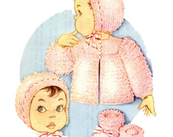 Loop Crochet Infant set Sacque Sweater Bonnet Hat Booties Slippers Knit O Graf 860 a Crochet Pattern in  PDF format instant download