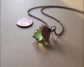 Mini Glass Acorn Necklace in Peridot by Bullseyebeads  READY TO SHIP