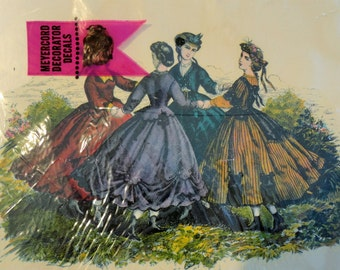 Meyercord Vintage Decals of 1800s Ladies Fashion such as Godey's or Petersons UNUSED Still Sealed!