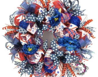 Patriotic Wreath, Fourth of July Wreath, 4th of July Wreath, Deco Mesh Wreath, Red White and Blue wreath, Summer Wreath for Door