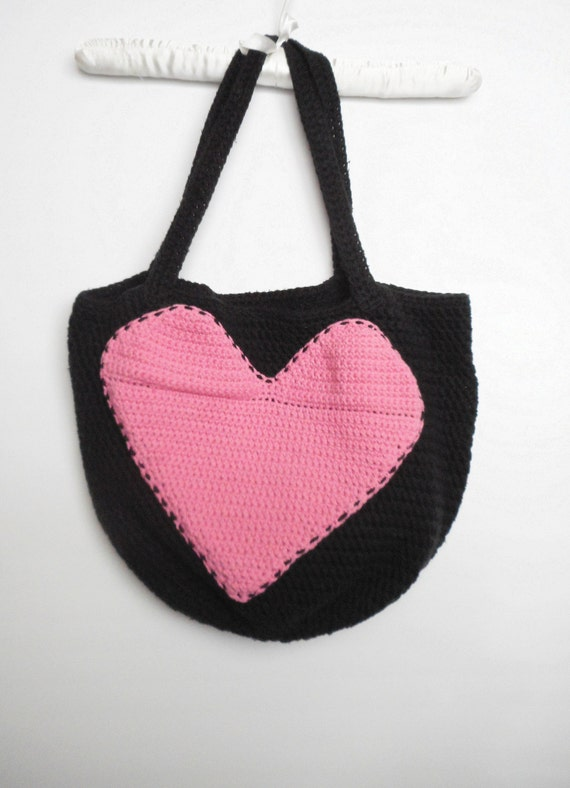 Crochet Shopping Bag : Cotton Crochet Reusable Shopping Bag Tote in Black with Pink Heart ...