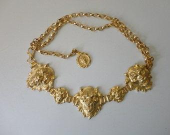 VINTAGE neiman-marcus gold tone LION head chain BELT