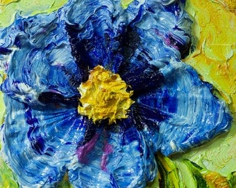 Blue Poppy 5x5 Original Impasto Oil Painting by Paris Wyatt Llanso