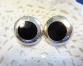 Vintage Onyx Clip On Earrings Sterling Silver Modernist Retro Round 925 Mexico Jewelry