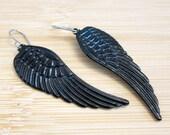 Angel Wings Hand Painted Charm Earrings Black Enamel