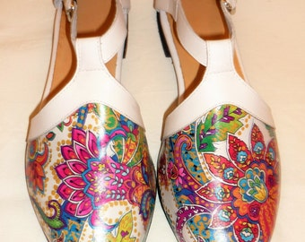 Bright Paisley Summer Flats, made to order in your size