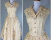 Vintage 1950s Dress Lace Beige Cream Rhinestone Buttons Tea Party Dress