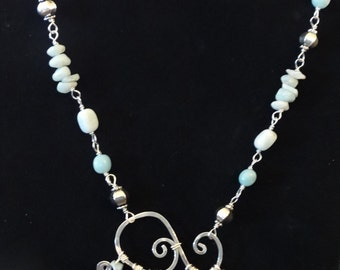 Aquamarine and sterling necklace