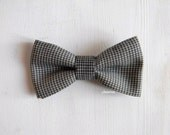 Men bow tie - Houndstooth bowtie - Italian bowtie - Pre tied bow tie - Made in Italy - Light brown, ivory.
