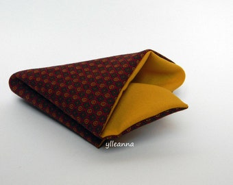 Pocket square - Double sided pocket square - Reversible Handkerchief -  Made in Italy -  Burgundy, saffron