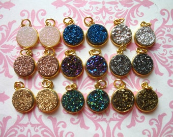 Druzy,, Pendant Charm, 11 mm Round, 24 Gold Plated or Sterling Silver druzzy drussy druse ap31.8 bd gcp10