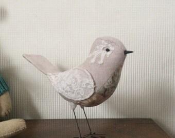 Fabric Bird linen soft sculpture bird with vintage lace