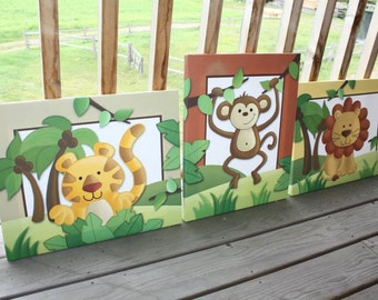 Set of 3 In the Jungle Stretched Canvases Children's Bedroom Baby Nursery  CANVAS Bedroom Wall Art 3CS011