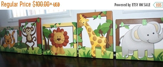 THANK YOU SALE Set of 5 Jungle Animals - Giraffe Elephant Tiger Lion Monkey Stretched Canvases Kids Bedroom Baby Nursery Canvas Bedroom Wall