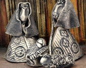 Mini Nativity, Ceramic Holy Family, German Silver Finish