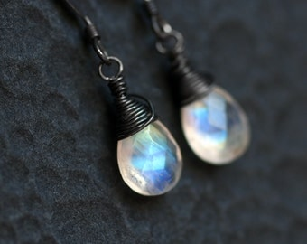 """Rainbow Moonstone Earrings, Oxidized Sterling Silver - """"Moondrops"""" by CircesHouse on Etsy"""