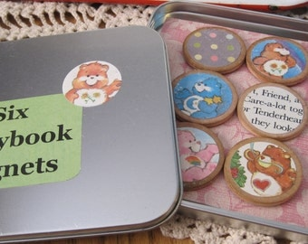 Set of Six Vintage Style Circle Wooden Magnets in Tin CARE BEARS