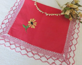 Sweet Vintage French Embroidered Tray Cloth / Handmade Red & White Trimming / Hand Embroidered Flowers / Country Vintage Cottage Chic