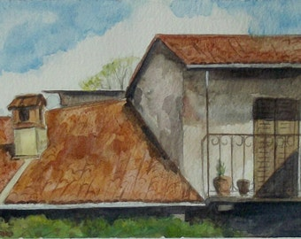 painting of italian roofs in watercolor