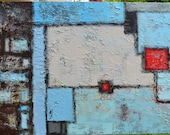 MODERN ABSTRACT ACRYLIC painting, large artwork living room decor, brown blue hues, geometrical art, squares