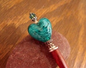 "Valentine Hairstick with Teal Venetian Glass Heart and Swarovski Crystal Accent, Hair Jewelry ""Heart of Venice"""