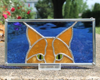 Butterscotch Ginger Peeking Cat Stained Glass Panel