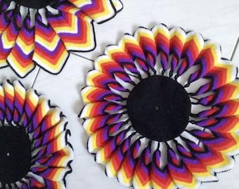 RARE HTF Vintage Colorful Pinwheel Doilies Place mats Set of 4