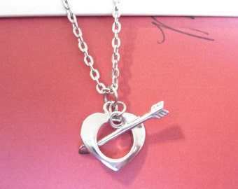 Heart and Arrow Necklace Heart Necklace Silver heart Necklace I Love You Necklace Gift For Girlfriend