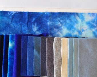 Summer Skies,Hand Dyed Fiber Bundle, Wool and Velvet, Inspiration Pack, Crazy Quilt, Applique Pieces, Nuno Felting, Layered Applique,