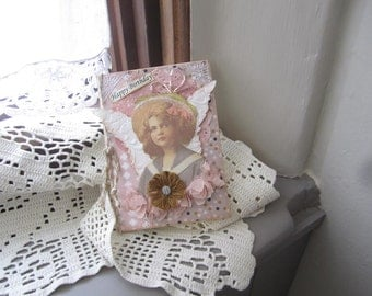 Victorian Birthday Card - Pink Vintage Card
