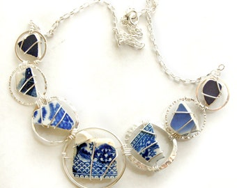 Sea Pottery Statement Necklace with Blue and White Sea Pottery, Sea Glass Necklace