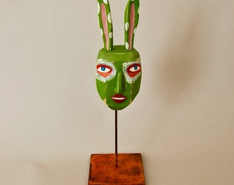 Carved Wood Sculpture - Green Bunny Man