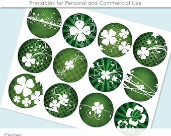 St Patricks Shamrocks 2.5 Inch and 2in Circle Digital Collage Sheet Download Printable Images for Gift Tags Cards Scrapbooking JPG
