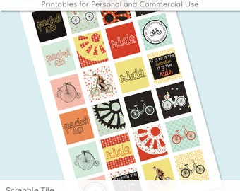 Bike Ride Bicycle Digital Collage Sheet Scrabble Tile .75x.83 Images 4x6 8.5x11 Download Sheets for Glass Resin Pendants E0068