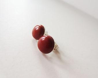 Silver earrings. Jasper earrings. Brick red earrings. Red stone earrings. 10mm earrings. Small stone earrings. Burnt sienna earrings.
