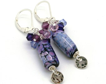 Lavender and Black Lampork Earrings with sterling silver and Swarovski crystals