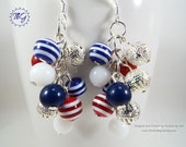 Patriotic Earrings #2 - Cluster · Red White & Blue Glass Beads - Filigree Beads - Independence Day - July 4th - USA - Gift - Silver Plate