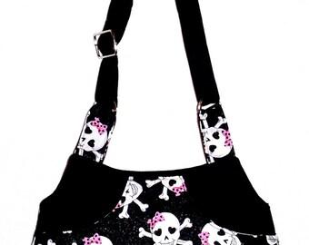 Glitter Black Skulls Pink Bow - Adj Strap, Hipster, Purse, Shoulder Bag, Across Body, Hands Free, Lots of Pockets