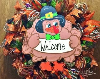 Fall Thanksgiving Turkey - Welcome Door Wreath