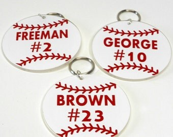 Personalized  Baseball Key Chain-Team Gifts-Party Favors-Team Favors-Custom-Baseball Team Gift-Baseball Bag Tag-Birthday Favor-