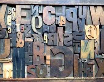 Antique Letterpress Printers WOOD TYPE Mix 72 Pieces