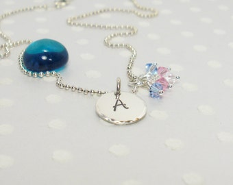 Transgender LGBT Pride Flag - Trans Woman - Personalized Necklace - Hand Stamped Necklace - Sterling Silver Charm Necklace