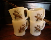 Vintage 1940s Fire King Coffee Mugs with Game Birds Set of 4
