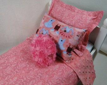 Bedding set for AMERICAN Girl & fits other 18 inch doll dolls bed 4 piece with bedspread pillows ballet ballerina tutu pink dancing Isabelle