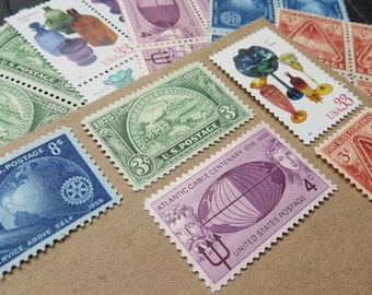 Old World Jewels .. UNused Vintage Postage Stamps  .. post 5 letters