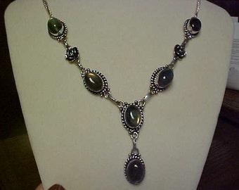 Hand made Labradorite 925 necklace + chain